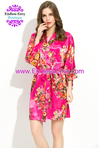 Endless Envy Floral Satin Bridesmaids Robe Fuchsia