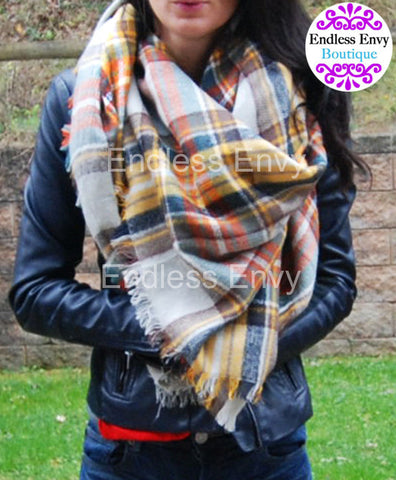 Blanket Scarf Tan Yellow Orange