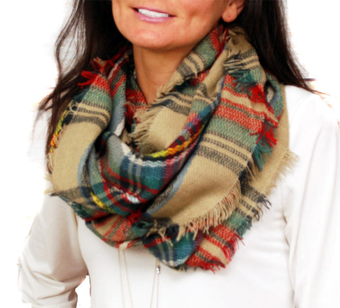 Infinity Blanket Scarf Plaid