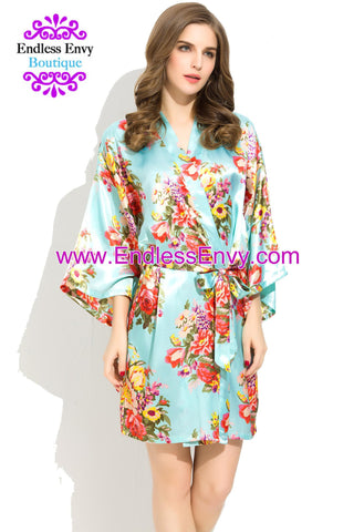 Endless Envy Floral Satin Bridesmaids Robe Mint