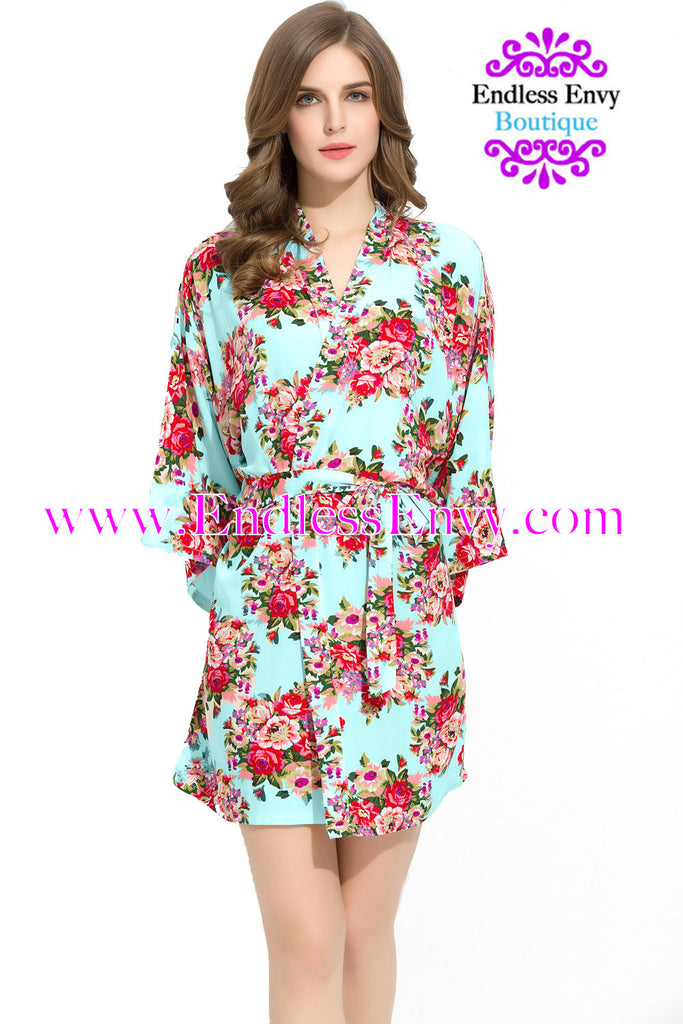 Endless Envy Floral Robe Bridesmaids Mint