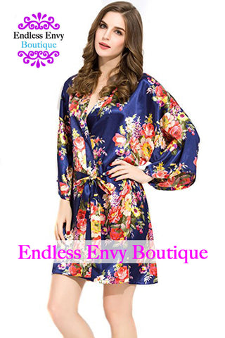 Endless Envy Floral Satin Bridesmaids Robe Navy