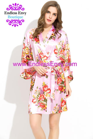 Floral Satin Bridesmaids Robe Pink