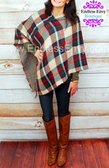 Plaid Poncho Scarf At Endless Envy Boutique