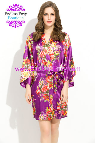 Endless Envy Floral Satin Bridesmaids Robe Purple