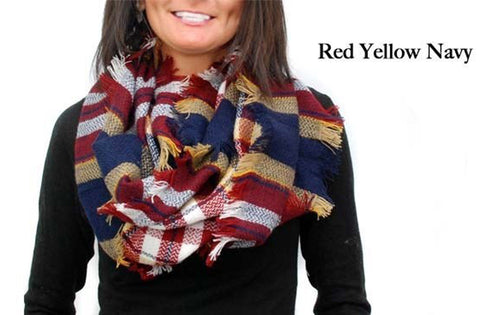 Infinity Plaid  Scarf Red Yellow Navy