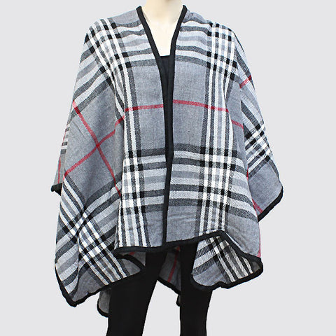 Plaid Poncho Grey