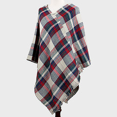 Plaid Check Reversible Poncho