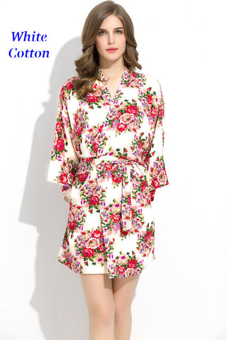 Endless Envy Floral Robe Bridesmaids White