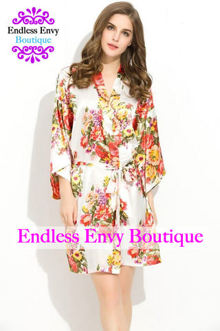 Endless Envy Floral Satin Bridesmaids Robe White