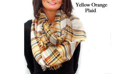Infinity Blanket Scarf Plaid Orange Yellow