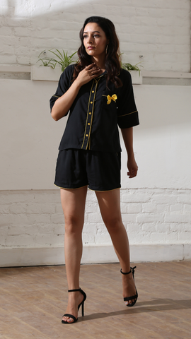 Black Bow Luxe Shorts Nightwear (Women)