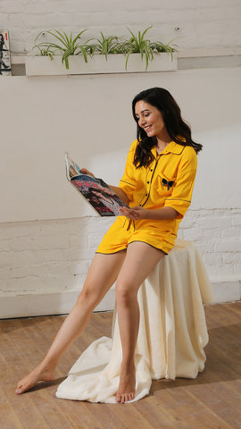Yellow Sunshine & Bows Luxe Shorts Nightwear (Women)