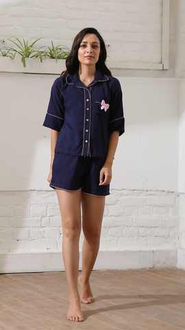 Blue Bow Luxe Shorts Nightwear (Women)
