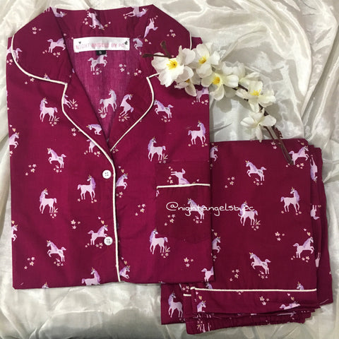 Mehroon Unicorn Nightwear