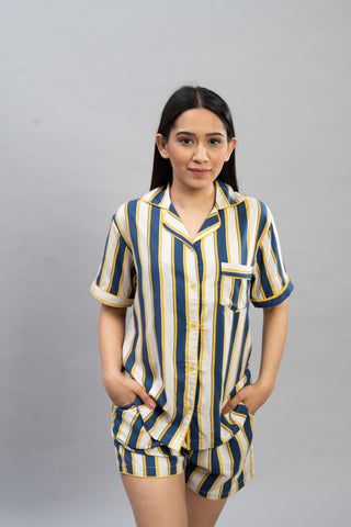 Yellow & Blue Stripes Short Set (Women)