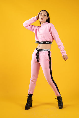 Love Pink Crop Tracksuit