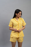Yellow Stripes Shorts Set (Women)