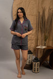 Grey Butterfly Cotton Shorts Set (Women)