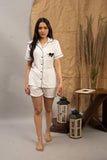 White Bow Cotton Shorts Set (Women)