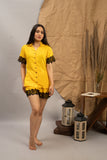 Pretty In Lace Yellow Cotton Shorts Set (Women)
