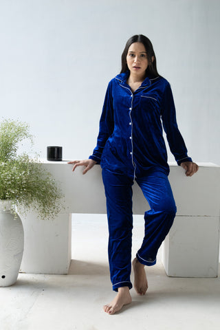Royal Blue Velvet Nightwear (Women)