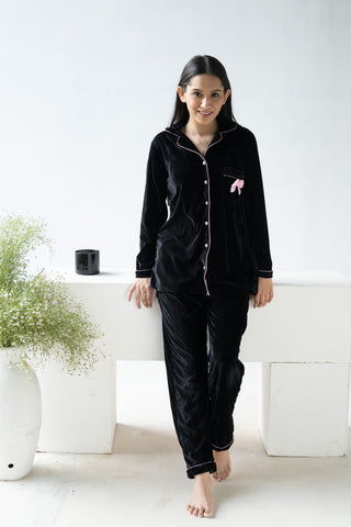 Black Bow Velvet Nightwear (Women)