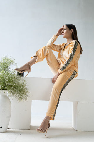 Glitter Bomb Light Golden Velvet Tracksuit