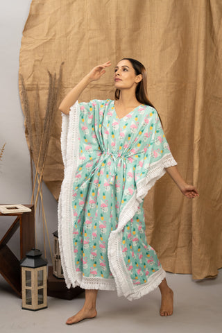 Green Flamingo | The Zoey Collection | Cotton Printed Kaftan