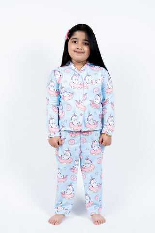 Sky Blue Unicorn Kids Unisex Nightwear