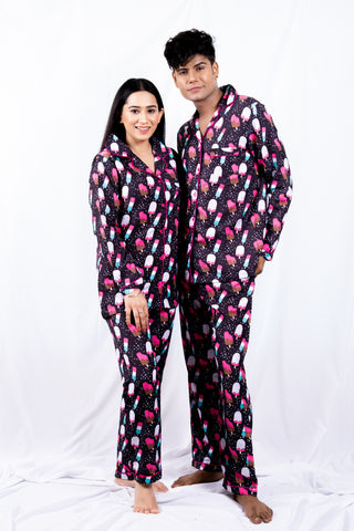 Black Ice Cream Couple Nightwear