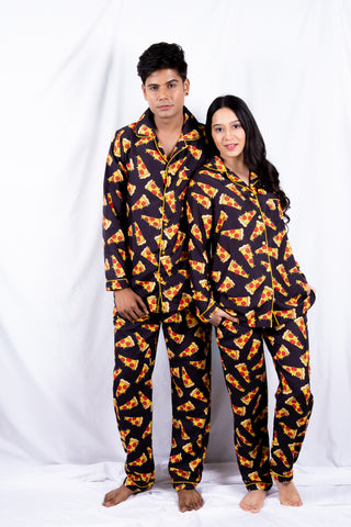 Black Pizza Couple Nightwear
