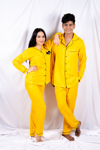 Yellow Sunshine & Bows Couple Nightwear