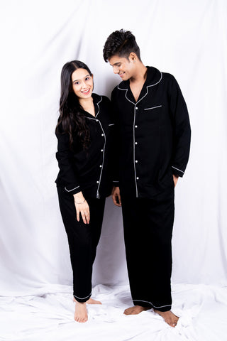 Classic Black Cotton Couple Nightwear