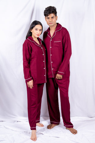 Classic Mehroon Cotton Couple Nightwear
