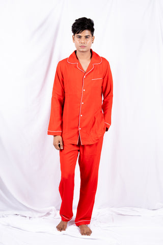 Red Classic Cotton Nightwear (Men)