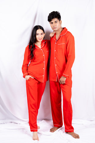 Classic Red Cotton Couple Nightwear