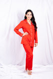 Red Basic Cotton Nightwear