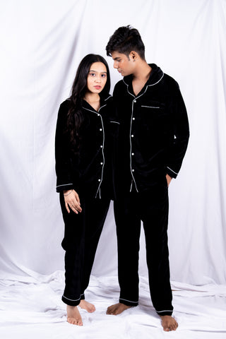Black Velvet Couple Nightwear
