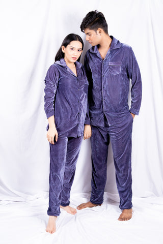 Silver Velvet Couple Nightwear