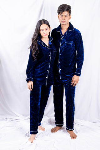Blue Velvet Couple Nightwear