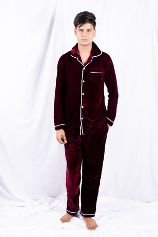 Mehroon Classic Velvet Nightwear (Men)