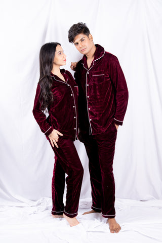 Mehroon Velvet Couple Nightwear