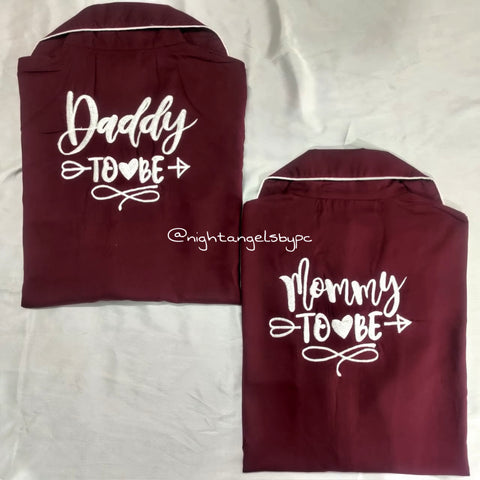 Mommy & Daddy To Be Mehroon Cotton Couple Nightwear