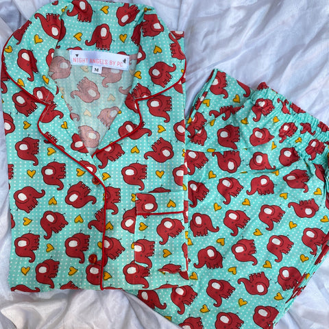 Green Elephants & Hearts Nightwear
