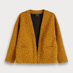 Soft stretch cardigan / light jacket in allover jacquard animal pattern with metallic detailing. Comfortable and easy to wear, boxy shape giving neat styling.  By Maison Scotch