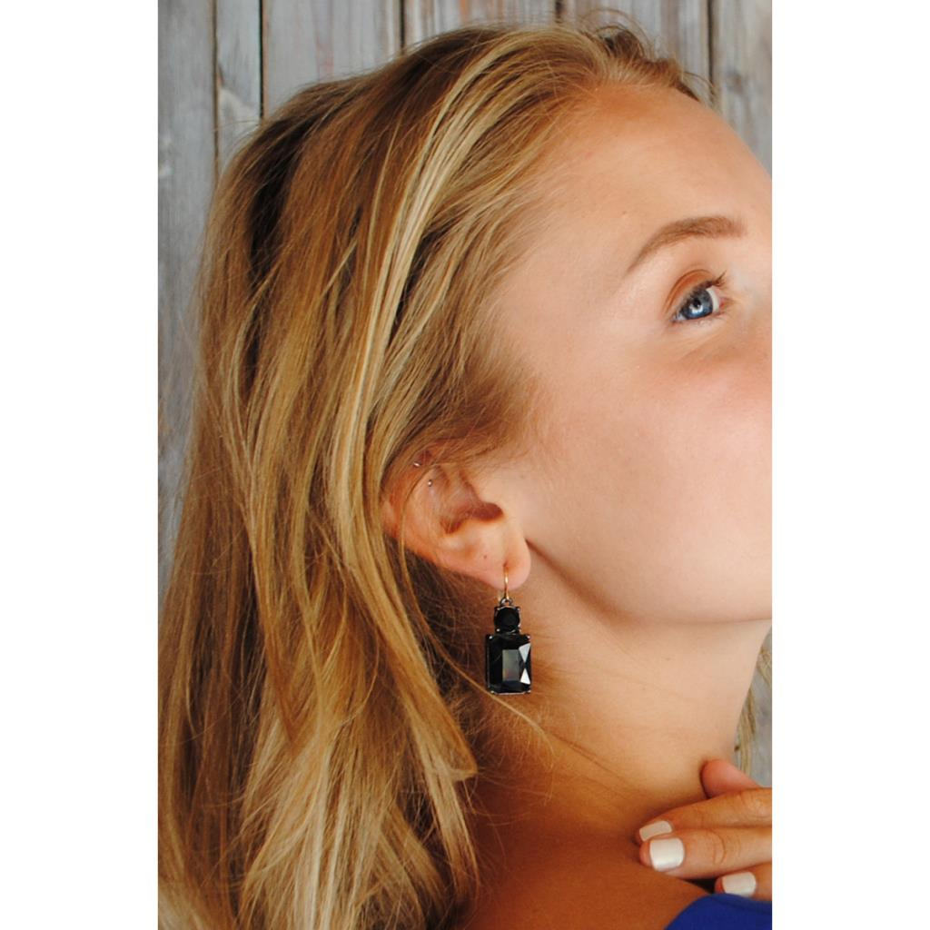 Gem Drop Earring - Jet Black