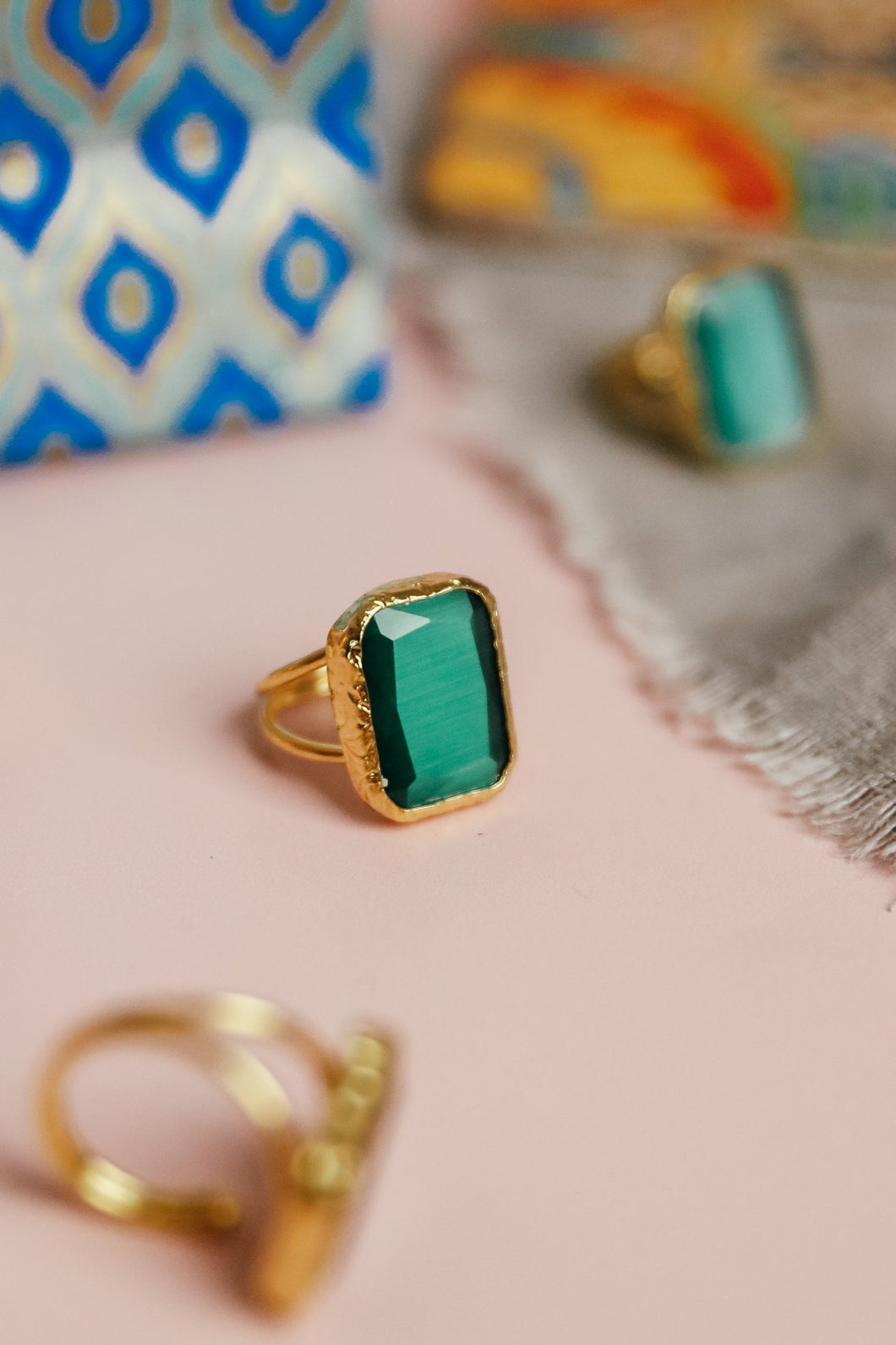 Emerald Square Cocktail Ring