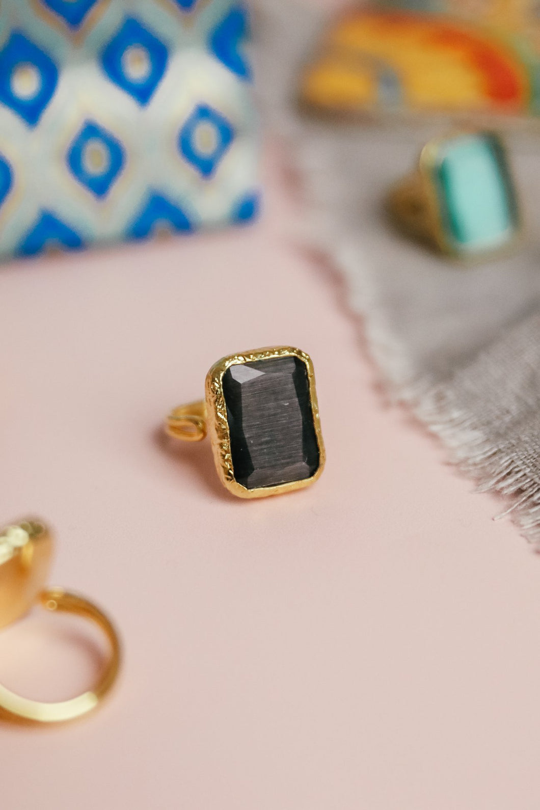 Dark Grey Square Cocktail Ring