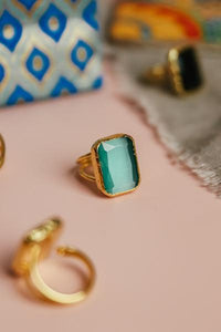 Aqua Square Cocktail Ring